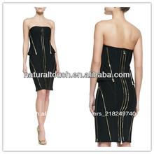 Vendaje de punto sin tirantes vestido de cremallera, las señoras de la manera simple vestido( ydq03306)
