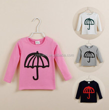New cute design fashion long sleeves baby girl t-shirt