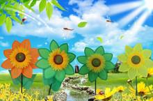 Garden polyester flower windmill for gate decoration.