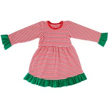 2015 Fashion Kids Green Christmas Party Dresses Beautiful Cotton Suit Baby Girls Chevron Christmas Dress