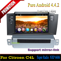 "1 din Car pc android dvd for 7"" Citroen C4L 2011-2014/car dvd player with gps Android 4.4. OS,bluetooth hands-free,Quad-core"