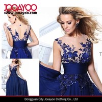 New Long Blue applique Prom Gown Evening Formal Party Cocktail Prom Dress