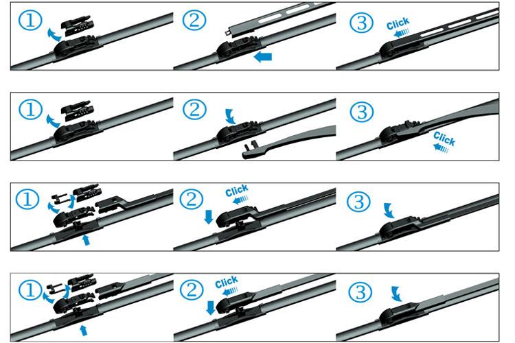 Wiper Blades Flat Wiper Blades Multi-clip adapter ...