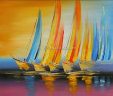 bright color oil paitnings Lowest Price Best Quality Handmade Simple fish Boat Oil Painting Canvas paintings for wall art
