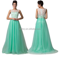 2015 fashion wedding dress light green floor length dress with lace A740