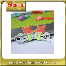Cute Button Silicone earphone Cable Wire Cord Holder winder Fox Shape