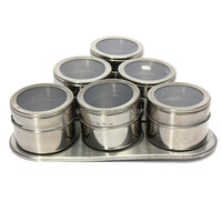 High Quality Top Selling Useful 6pcs/Set Spice Stainless Steel Magnetic Cruet Condiments Spice Rack Pots Set For Spice
