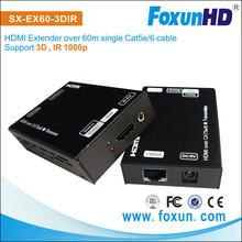 Factory price SX-EX60-3DIR 60m HDMI IR Extender Over Single Cat5e/6 Cable