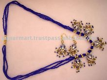 Indian fashion costume jewellery lakh / lac kundan Imitation jewellery necklace and earrings set