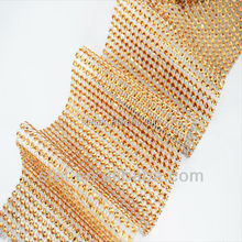 Beautiful wedding decors coffee diamond mesh rhinestone ribbons diamond band