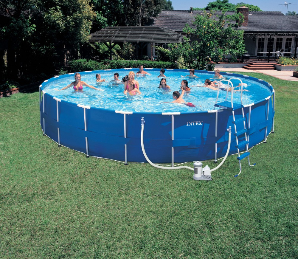 2015 above ground intex metal frame swimming pool for Square above ground pool