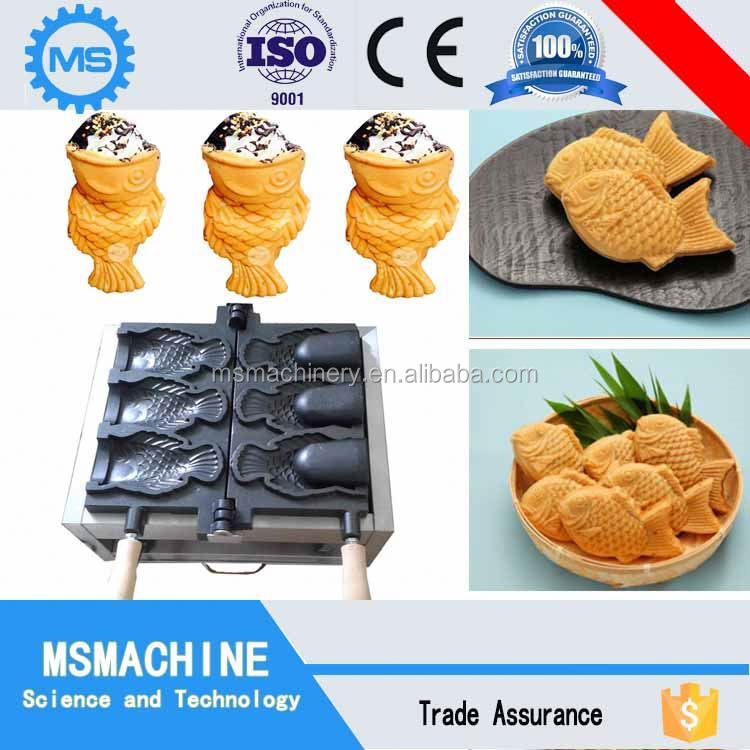 Best selling taiyaki shaped ice cream cone making machine for Fish shaped ice cream cone
