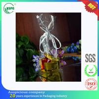 Suitable price organza rope clear block bottom plastic bag for candy