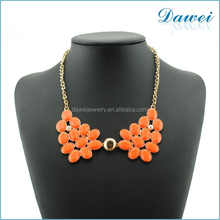 Custom Orange Acrylic Butterfly Flower Statement Necklace for American