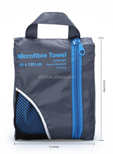 Quick dry microfiber beach/gym/travel towel microfiber sports towel with carry mesh bag