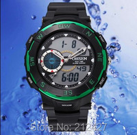 2016 new product arrive high quality 30M deep water proof PU plastic band,analog digital movement OHSEN 1312 water proof watch