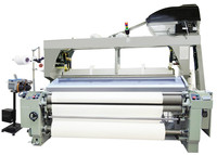 Cam or dobby shedding water jet loom textile machines with double or single weft feeder