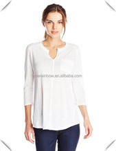 China factory fashion Women's clothing V neckline long sleeve t shirt top with pocket custom made hot sale