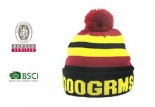 popular pom pom striped logo embroidered knitting customized pattern hat beanie