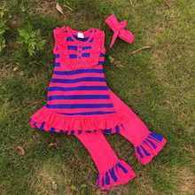 2015 new design boutique kids clothing girls strpie ruffle outfit hot pink capri set with matching headband and necklace