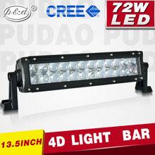 P&D Wholesale LED light bar 4D style 72w 13.5 inch off road led light bar