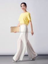 plus size white fashion lady wide leg chiffon pants for office