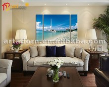 Morden beach and boat oil frame canvas painting