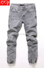 2014 Mens Jogger Jeans Acid Wash Denim Pant Moto Design Grey Wash Jeans 35092