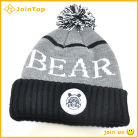 Wholesale colorful unisex cheap sex pom beanie knitted hat