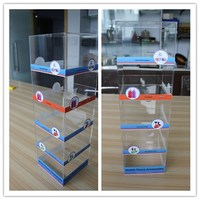 new products acrylic phone charger counter rack plastic 5 sections/shelf convenience store accessory display