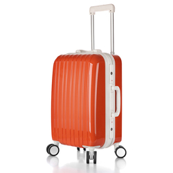 ABS shining colorful luggage TRAVEL TROLLEY BAGS FOR A SET OF 3 CASES WITH LOCK, Aluminum makeup trolley case