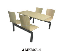 4-seater Wooden fast food restaurant table and chairs, fast food table and chairs