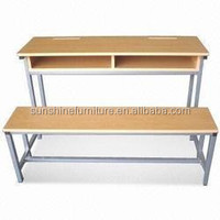 cheap study used wooden chair and table combine