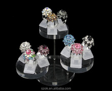 crystal acrylic luxury ring counter display stand wholesale