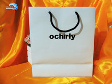 Brand name black cotton handle paper packaging bag for clothing
