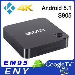 EM95 amlogic s905 quad core android 5.1 tv box with PMCU digital display 1000M ethernet