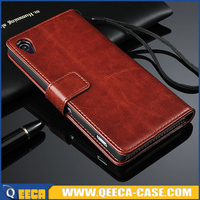 Luxury credit card holder pu leather skin cover for sony xperia z2 flip case