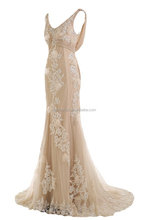 Gorgeous Champagne Mermaid Wedding Dresses for Bride Lace and Chiffons/ wedding dress/women wedding dress