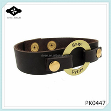 PK0447 Circle Ring Connectors Leather cuffs Gold Plaited custom leather bracelet