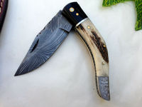 Custom Hand Made Damascus steel Folding knife