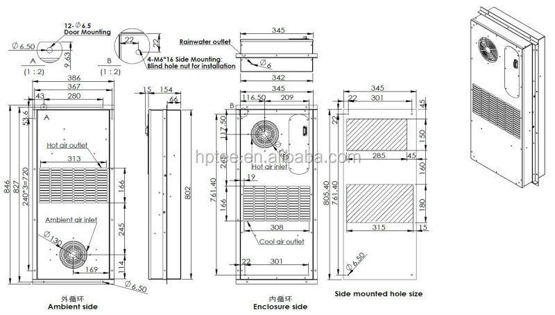 40w  k side door munted cabinet heat exchanger air