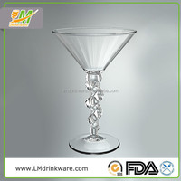 Good price clear 220ML unbreakable polycarbonate plastic martini cup cocktail glass