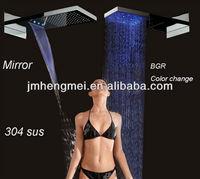3 function led lighting 304 SS waterfall rainfall mirror Shower mixer