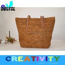 raffia straw luxury leather handle oversize hobo handbag/tote beach bag/natural straw bag pu handle hottest design cheap price