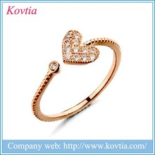 China supplier metal ring with heart shape open ring of new products 2015 filled with crystal