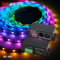 DC5v-24v dc DMX to ws2801 led controller pixel light decoder