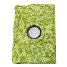 Good quality New design 360 degree Rotating Flip Grape Flower Stand Leather Case Cover for iPad Mini green