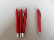 2015 beautiful design red transparent barrel frosted ball pen CH-6138