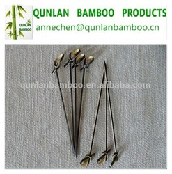 New disposable bamboo food/fruit knotted flower stick/bamboo skewer
