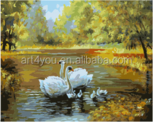 Swan painting by numbers